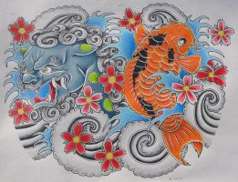 Foo Dog and Koi color tattoo by bsguru