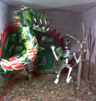 Soda Can Dragon and Skeleton by ghost-skittles
