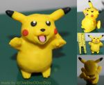 Cheeky Pikachu - Tongue Sticking Out Polymer Clay by DeeDeeODooDoo