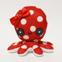 Retro red polka dot octopus plushie by jaynedanger