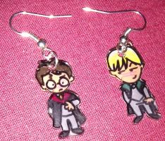 Cute Harry and Draco earrings by Lovelyruthie