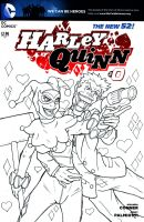 Bad Romance Harley Quinn Sketch Cover Inks WIP by ibroussardart