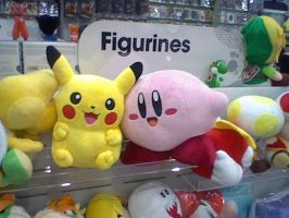 Pikachu and Kirby plushes by ryanthescooterguy