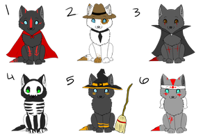 Halloween Pup Adoptables - ALL OPEN (CHEAPER) by DarkWolfArtist