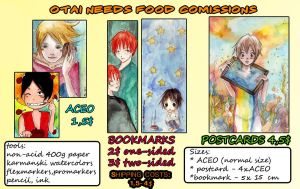 ACEO/bookmarks/postcards comissions by Otai