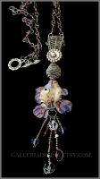 Wire wrapped pendant - Lampwork glass fish by Faeriedivine