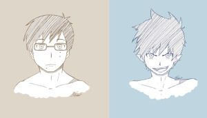 AO NO EXORCIST   Okumura Twins by SombrePies