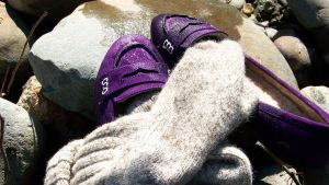 Purple Suede Penny Loafers and Gray Wool Socks by peerlesspenny
