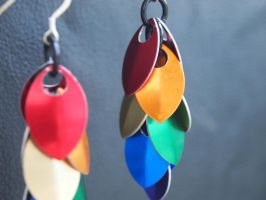 Rainbow Dragon's Tail Earrings by ofmyhats
