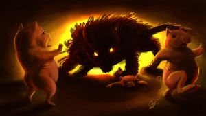 Little Pigs and the Wolf by artcova