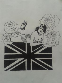 British Sweetheart/Pin-up Tattoo Design by ProTxtics