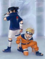 Naruto and Sasuke by paintpixel