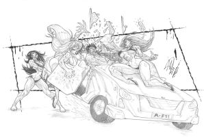 Vampire Girls Dtestroys car (Remake) by musclebabe26