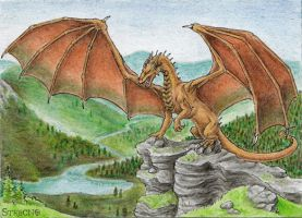 Dragon Mountains ACEO by Strecno
