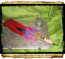 Red Goose quill agave point pen by grimdeva