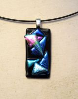 Small Geometric Fused Glass Pendant Necklace by FusedElegance