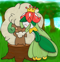 Whimsicott and Lilligant~ I like you by Sparkleztehpurplecat