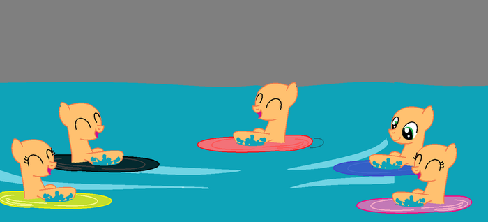 Glowing In Water Base (5 ponies) by cam-and-sister-paint