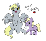 Derpy Hooves and Dinky by PterosaurPony