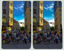Cycle rickshaws in Munich 3D :: HDR Cross-View by zour