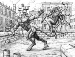 Rooftop Fight Initial Inks by turbofanatic