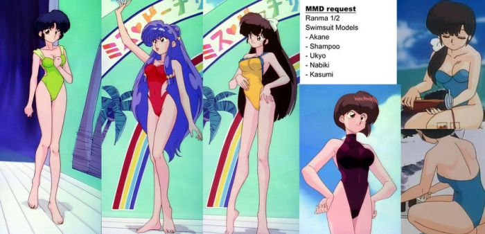 MMD Request: Ranma Girls Swimsuit Models by DrummingOni