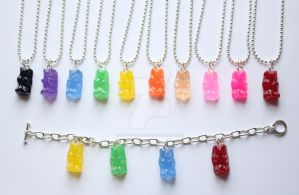 Gummy Bear Necklace and charm bracelets by CrypticTreasures