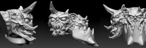 ZBrush Chaos Ork Warboss Head(s) by SuiCom