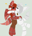 Winter and Foxy as ponies by wolvesanddogs23