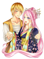 C: Enzo x Tsukina Waist Up Couple by xxxRinRulesxxx