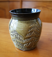 Green and Black Tree Themed Ceramic Vase by ashynekosan