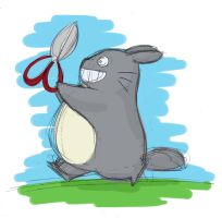 Totoro running with scissors by awesomepaste
