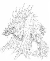 tree beast sketch by hibbary