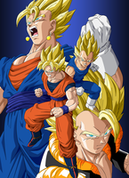 Son Goku - Vegeta  - Vegetto - Gogeta Super Saiyan by Dark-Crawler