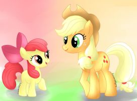 Applejack and Applebloom by KuroVonWolfgang
