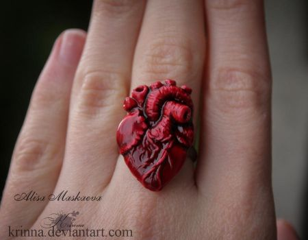 Human Heart ring from polymer clay by Krinna