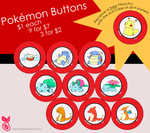 Pokemon Buttons FOR SALE by Nutmegnog