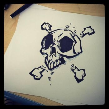 big lines skull by Anny-D