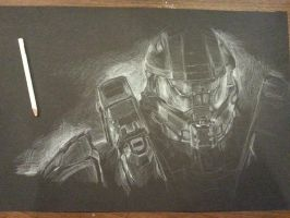 Master Chief - Halo drawing by GoatQueen