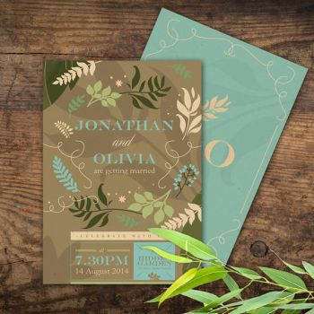 Forest Wind Wedding Invitation by fabledpapery