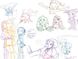 Digimon Tamers Sketches by Snowflake-owl