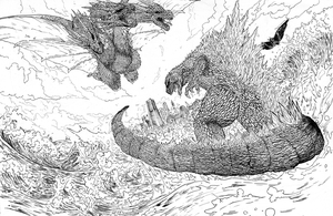 Godzilla, Mothra and King Ghidorah Inks by Pixelated-Takkun