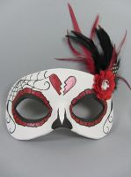 Dark Red Day of the Dead leather masquerade mask by maskedzone
