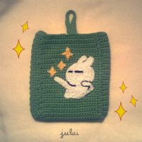 Crochet Hard disk case with Tuzki! by Tofe-lai