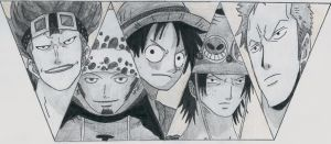 kid, law, luffy, ace, zoro by lea33