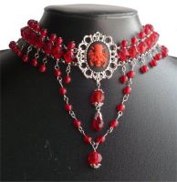 Red pirate choker by Mornie-Alfinus