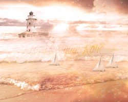 Lighthouse, Boats, and the Sea by KrazyPenguin