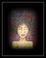 oldpaintingrevisited meditate spiral hair by santosam81