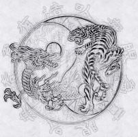 dragon and tiger by redscorpion57