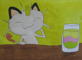 Meowth at Spinda's Cafe- PMDEOS by hungry4ramen
